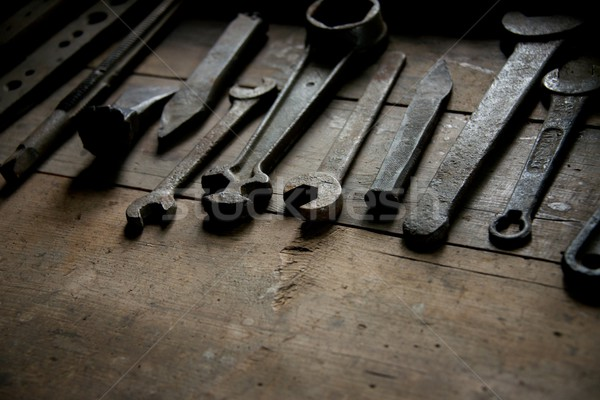 старые ржавые инструменты таблице древесины строительство Сток-фото © Nejron