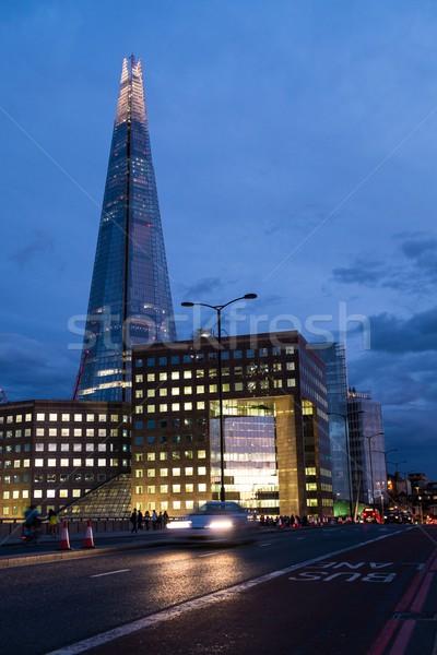 Illuminated The Shard skyscraper at night in London, England Stock photo © Nejron