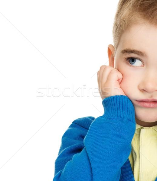 Stockfoto: Nadenkend · weinig · jongen · Blauw · cardigan · Geel
