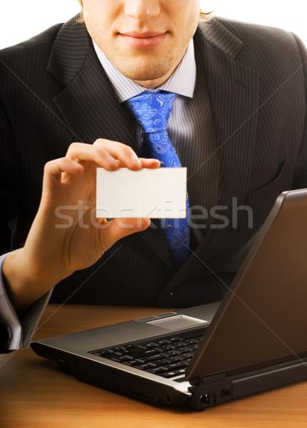 Iş adamı boş kart Internet çalışmak dizüstü bilgisayar konferans Stok fotoğraf © Nejron