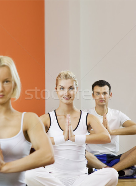 Group of people doing yoga exercise (focus on a woman in the mid Stock photo © Nejron