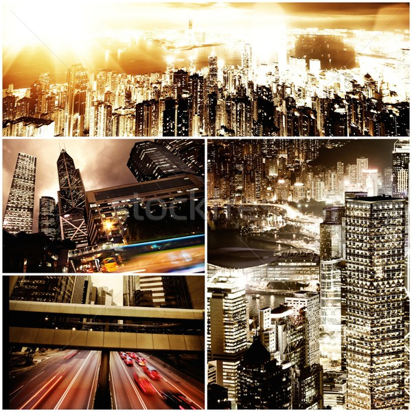 Modern city at night time collage  Stock photo © Nejron
