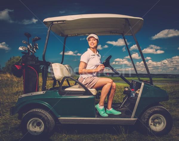 Stok fotoğraf: Genç · kadın · sürücü · golf · araba