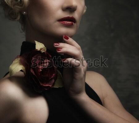Tattooed beautiful woman in old spooky interior Stock photo © Nejron