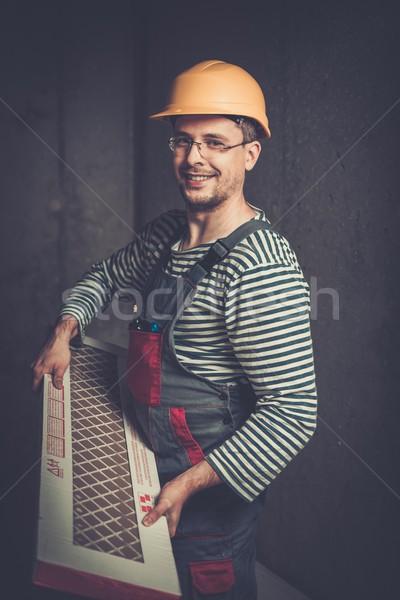 Wesoły budowniczy kask Płytka domu Zdjęcia stock © Nejron