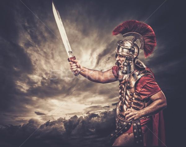 Stockfoto: Soldaat · stormachtig · hemel · man · oorlog · Rood