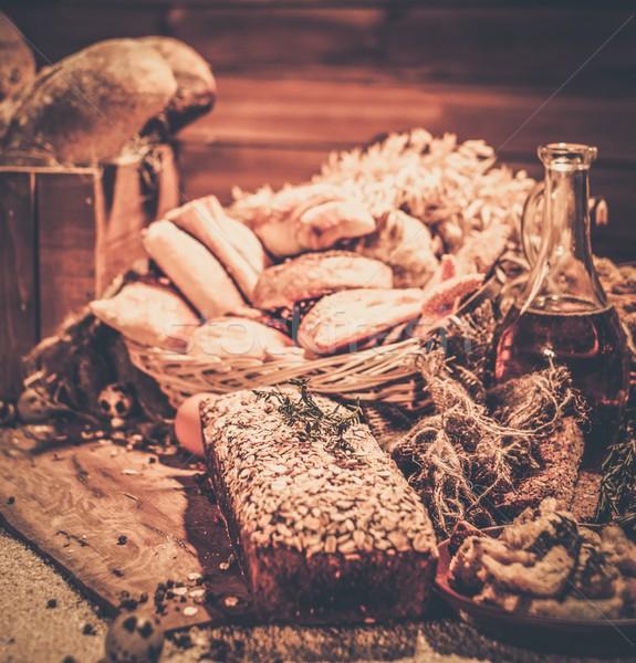 Házi készítésű sült áru asztal kenyér búza Stock fotó © Nejron