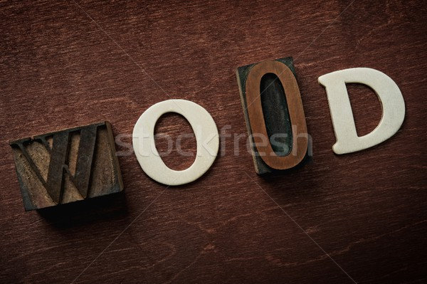 The word wood written on wooden background Stock photo © Nejron