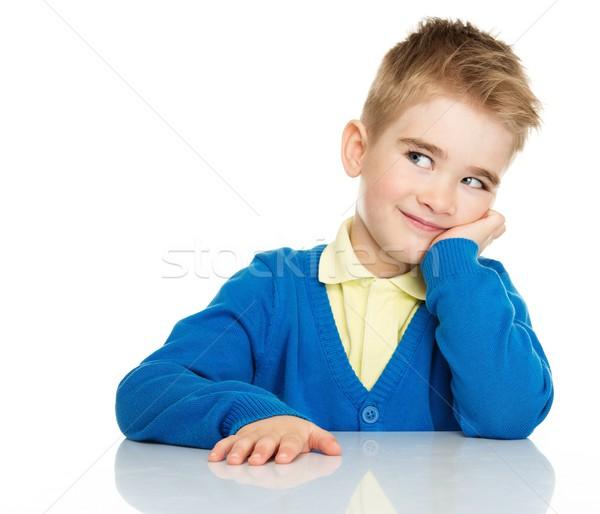 Weinig jongen Blauw cardigan Geel Stockfoto © Nejron