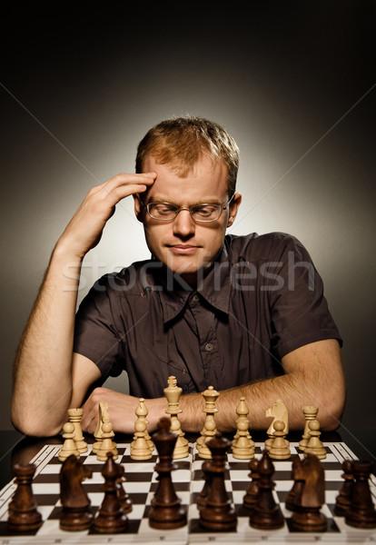 Nadenkend schaken meester witte leger spel Stockfoto © Nejron