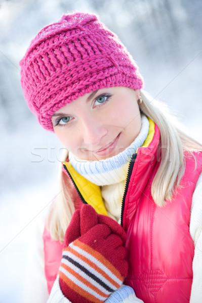 Frozen beautiful woman in winter clothing outdoors   Stock photo © Nejron