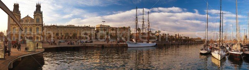View of a boardwalk near yacht port in Barcelona Stock photo © Nejron