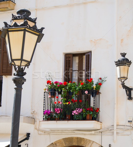 Building facade with beautiful balcony full of flower pots Stock photo © Nejron