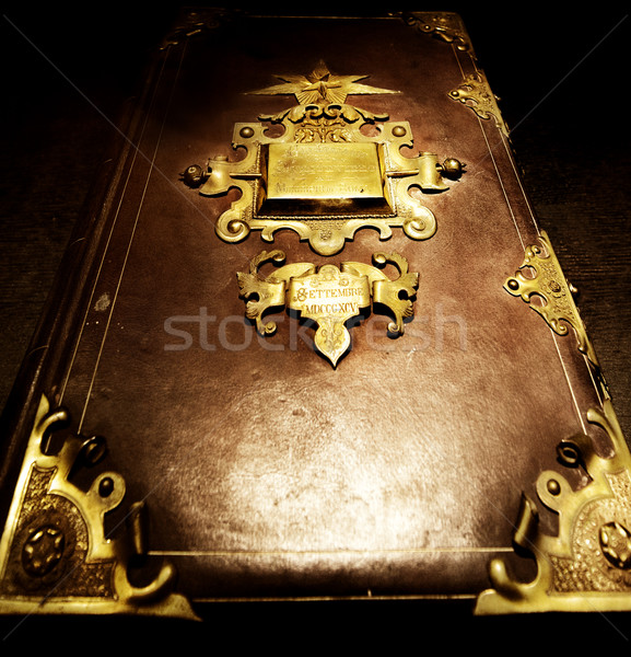 Eski kitap doku İncil Retro karanlık deri Stok fotoğraf © Nejron