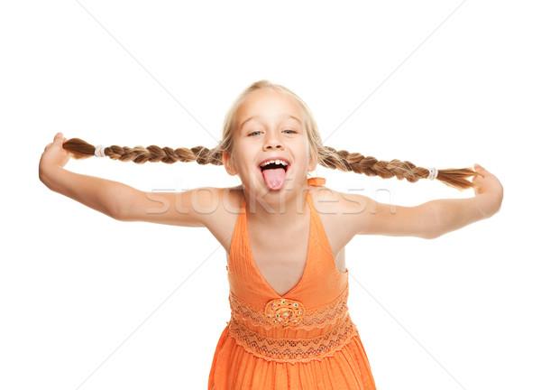 Stock fotó: Kislány · készít · vicces · arc · nő · szem · arc