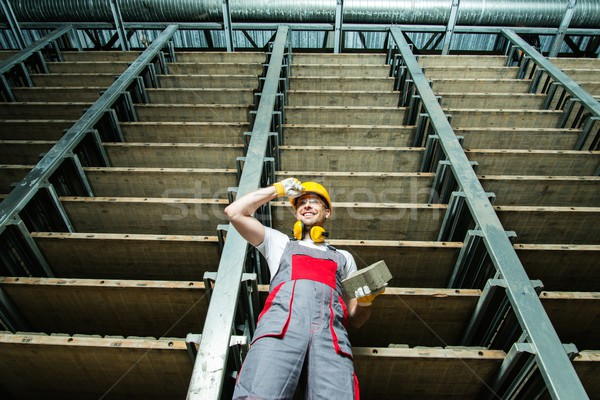 Glücklich Arbeitnehmer Abstellraum Fabrik industriellen Ziegel Stock foto © Nejron