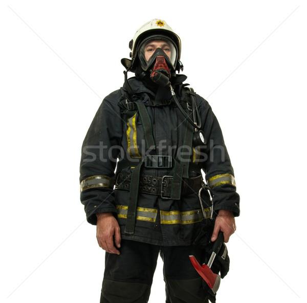 Bombeiro machado máscara de oxigênio isolado branco Foto stock © Nejron