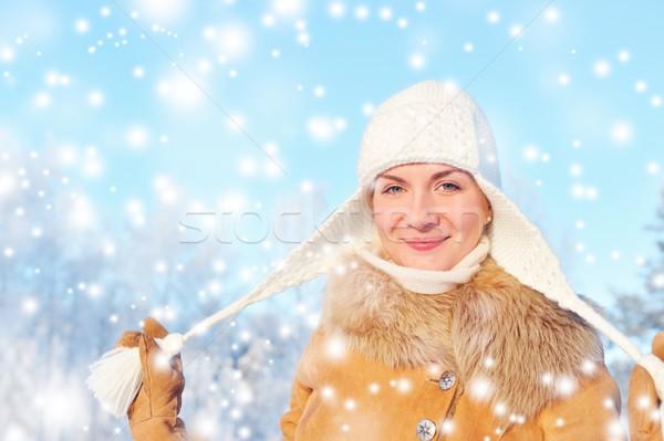 Stok fotoğraf: Güzel · bir · kadın · kış · gün · kız · yüz