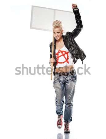 панк девушки бейсбольной битой работает женщину рок Сток-фото © Nejron