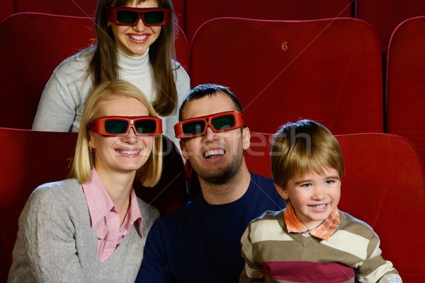 Photo stock: Heureux · jeunes · famille · lunettes · 3d · regarder · film