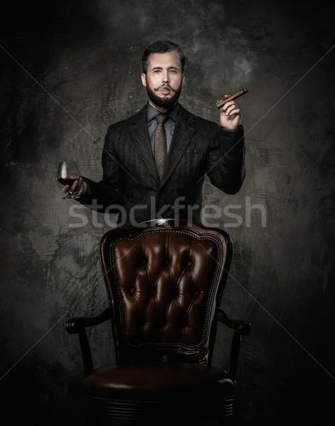 красивый стекла напиток сигару моде пить Сток-фото © Nejron