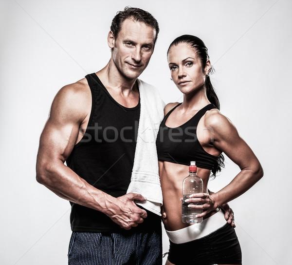 спортивный пару фитнес осуществлять женщину спортзал Сток-фото © Nejron