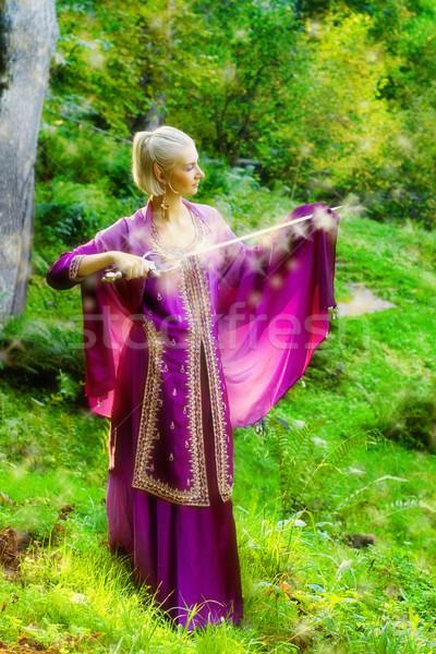 Foto stock: Loiro · menina · magia · espada · primavera · floresta