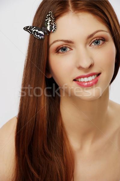 Zdjęcia stock: Piękna · brunetka · kobieta · wiosną · twarz