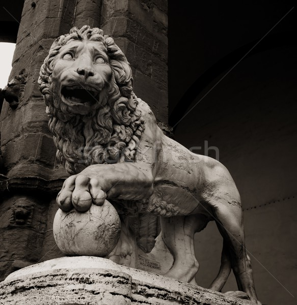 Stone lion statue at piazza della Signoria in Florence Stock photo © Nejron
