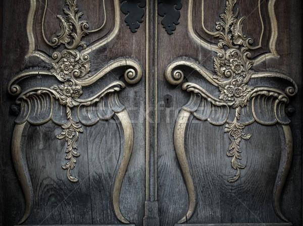 Stock fotó: öreg · fából · készült · ajtó · gyönyörű · dekoráció · fa