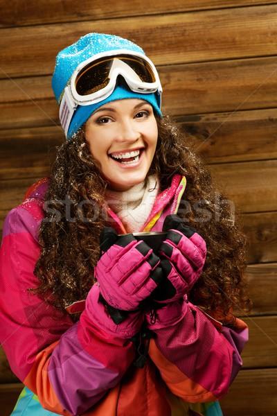 счастливым женщину лыжных носить Кубок горячий напиток Сток-фото © Nejron