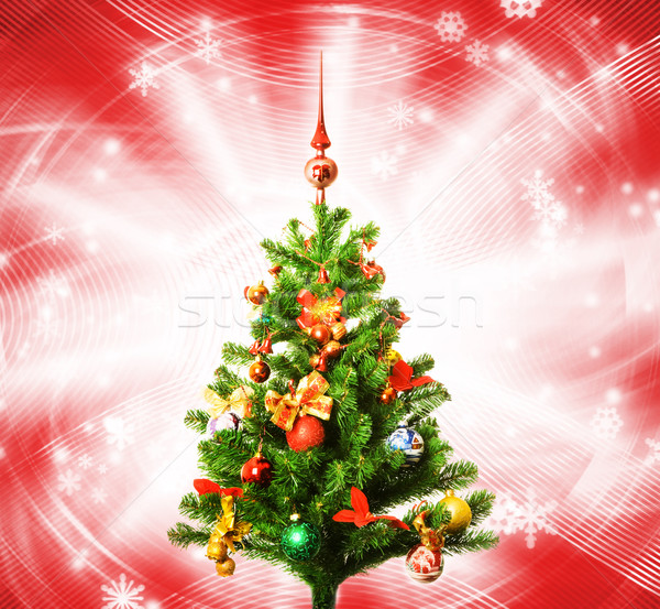 Christmas-tree over abstract red background Stock photo © Nejron