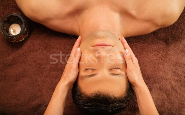 Stok fotoğraf: Yakışıklı · adam · yüz · masaj · spa · salon · el