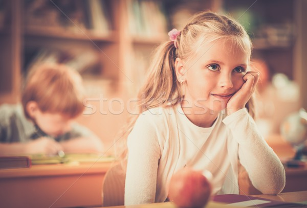Kicsi iskolás lány ül mögött iskola asztal Stock fotó © Nejron