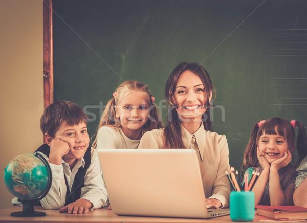 группа счастливым Одноклассники учитель класс доске Сток-фото © Nejron