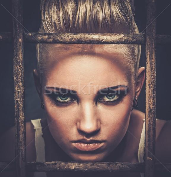 Problémás tinédzser lány mögött rácsok kő Stock fotó © Nejron