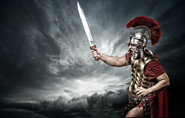 солдата бурный небе фон металл власти Сток-фото © Nejron