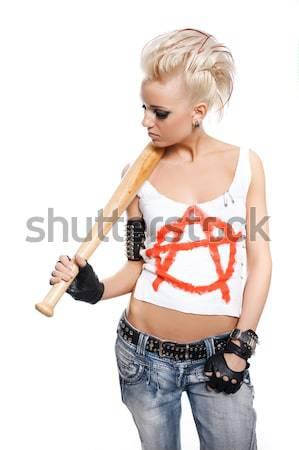 панк девушки женщину краской дым рок Сток-фото © Nejron