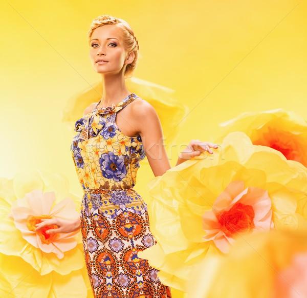 美しい 若い女性 ビッグ 黄色の花 女性 花 ストックフォト © Nejron