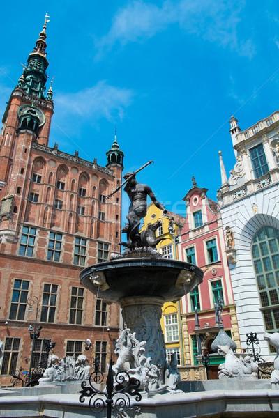 Foto d'archivio: Fontana · danzica · Polonia · città · strada · estate