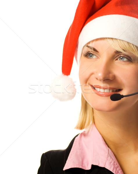 Stockfoto: Mooie · telefoon · exploitant · hoed · oog