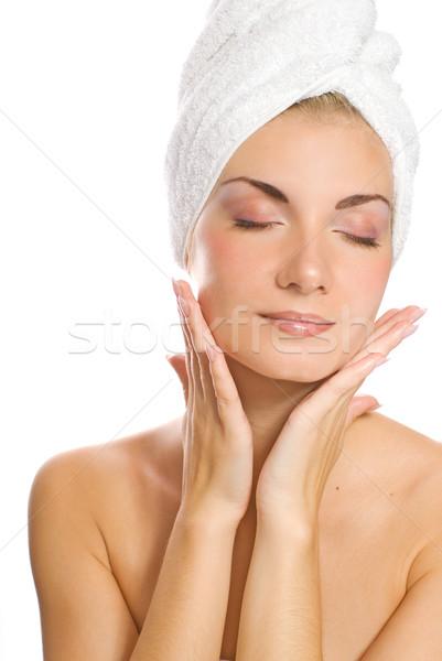 Fiatal hölgy jelentkezik hidratáló arc zuhany Stock fotó © Nejron