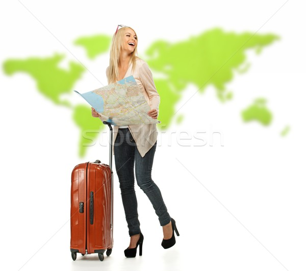 Blond woman with suitcase and map Stock photo © Nejron