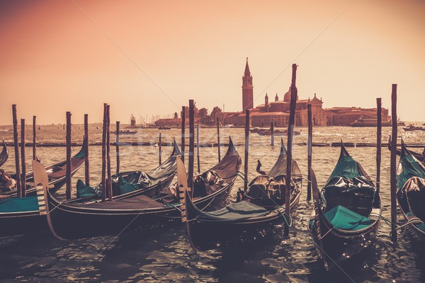 Gondolas against Venice panorama Stock photo © Nejron