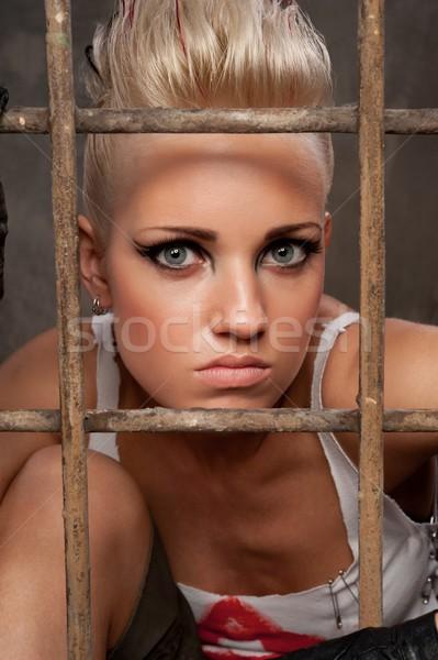 Retrato punk nina detrás bares pintura Foto stock © Nejron