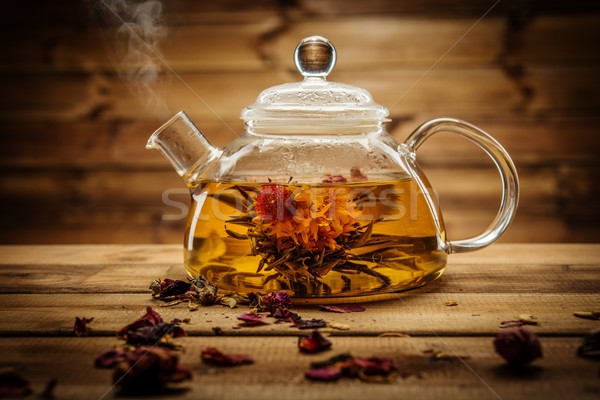 Glas theepot thee bloem binnenkant Stockfoto © Nejron
