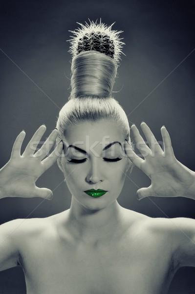 Monochromatyczny zdjęcie kobieta Kaktus włosy twarz Zdjęcia stock © Nejron