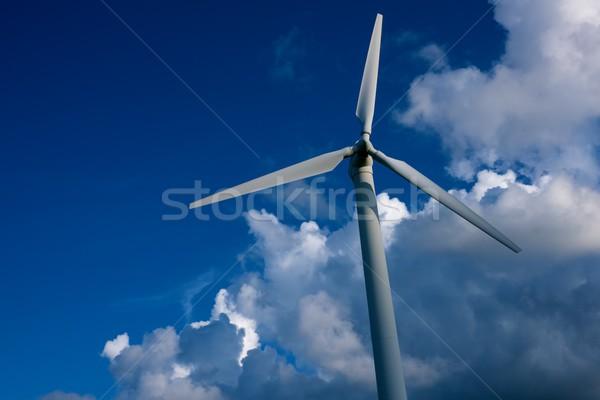ветровой турбины Blue Sky технологий промышленных завода белый Сток-фото © Nejron