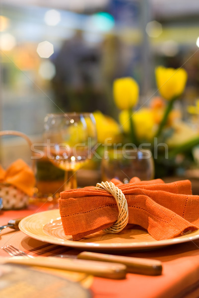 Served table in a restaurant (shallow DoF) Stock photo © Nejron