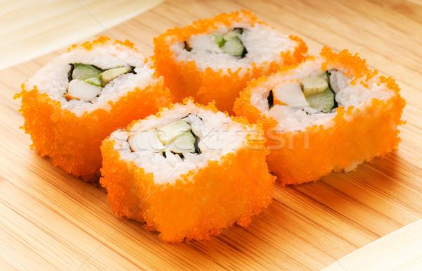 California futomaki sushi on bamboo plate Stock photo © Nejron